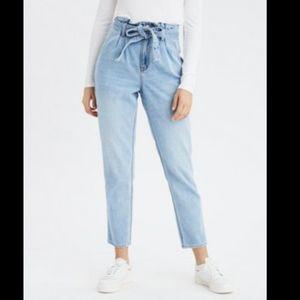American Eagle Belted Highest Mom Jeans